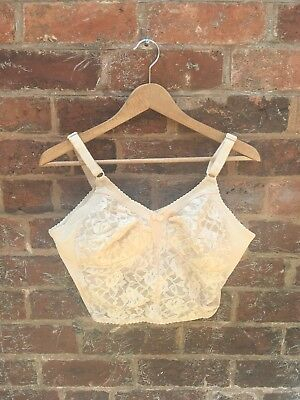 Vintage 60s 70s Beige Laced Bralet Bustier Corset Nylon Bra 40B Pin Up BHS