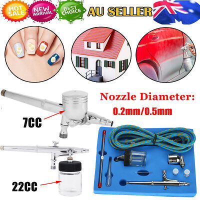 Airbrush Spray Gun Dual Action Air Brush Craft Tattoo Hose Kit Set 0.2/0.3/0.5mm