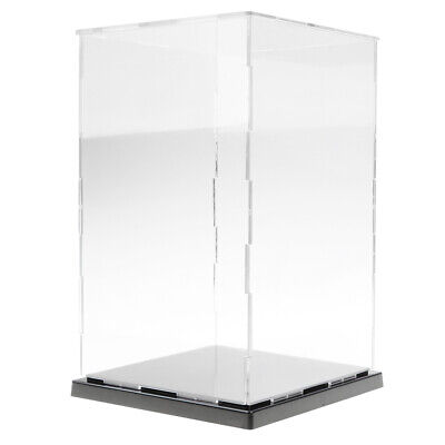 Acrylic Transparent Display Show Case with Balck Base for Figures Model - 5 Size