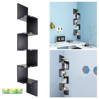 5 Tiers Wood Wall Mount Corner Shelf Floating Home Storage Rack Display Unit