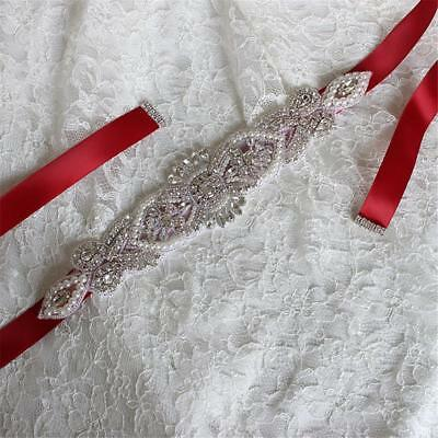 Bridal Wedding Dress Belt Ribbon Rhinestone Sash Sparkle Crystal Sashes 12 Color