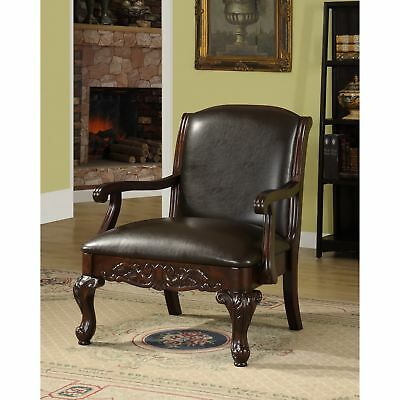 Antique Dark Brown Accent Club Chair ~ Faux Leather & Wood Vintage Armchair Seat
