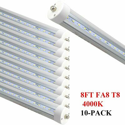 10Pack 8FT 40w Single Pin FA8 T8 T12 LED Tube Light Clear Lens 4000K