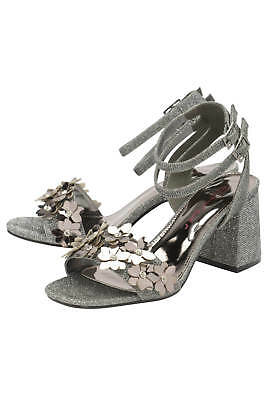 d02c369ef535 Ladies DOLCIS NIAMH Pewter Block Heeled Peep Toe Sandals Court Party Shoes  UK 4