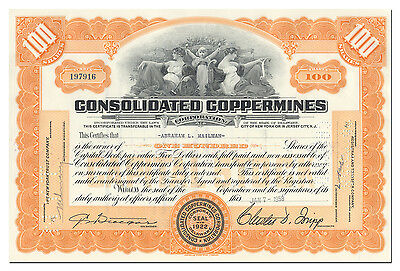 Consolidated Coppermines Corporation Stock Certificate