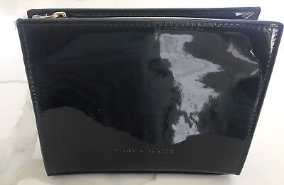 f780a88f011 MARC JACOBS black patent faux leather makeup bag clutch cosmetic case pouch  NEW