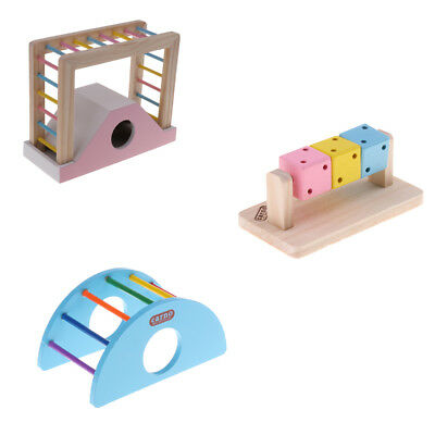 Pet Hamster Play Funny Toy Wooden Rainbow Ladder Bridge Exercise Supplies
