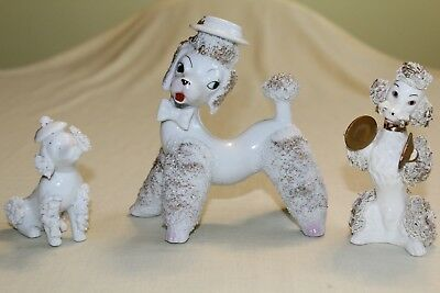 "3 Vintage Japan Porcelain Spaghetti Poodle Dog Figure Figurines 5"" & 6"" Tall Vgc"
