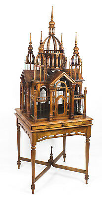 Vintage  Mahogany Sacre Coeur Cathedral  Bird Cage  on stand 20th C