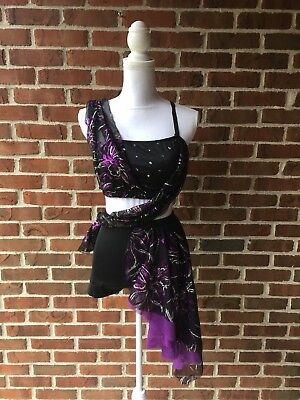 Reverence Lyrical Dance Competition Costume Black Purple Shorts Accents Sz S-M