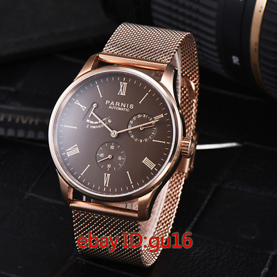 Parnis 42mm Coffee dial date power reserve seagull automatic mens watch 2469