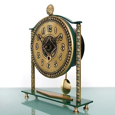 NUFA Vintage Mantel Clock Mid Century German SOLID METAL Pendulum 8 Day SERVICED