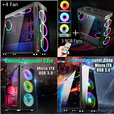 Gaming Pc Computer Case Rgb Led Cooling Fan Desktop Cover Mini Mid