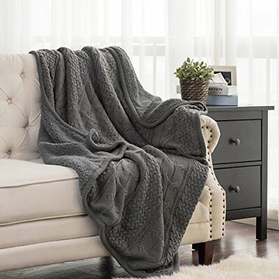 BEDSURE More than comfort Knitted Throw Blanket with Sherpa, Fuzzy Fleece