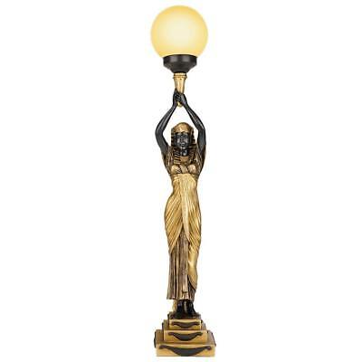 """35"""" Egyptian Goddess Revival Style Antique Replica Gallery Desk Table Torch Lamp"""