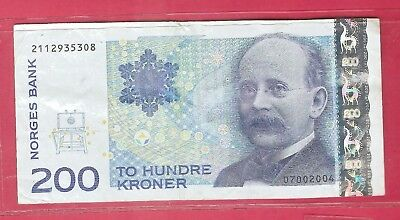 NORWAY 200 KRONER BANKNOTE~Collectible Currency~ESTATE SALE~SHIP FREE
