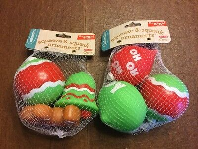 NEW Infantino Holiday Rubber Squeeze & squeak Ornaments TOYS Lot Of 6