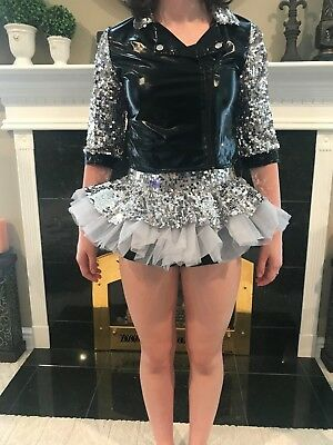 Weissman Black/Gray Sequin Faux Leather & Tulle Dance Costume, Size Child Large