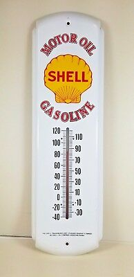Classic Shell Gasoline Motor Oil Retro Metal Thermometer Sign Oil Sign