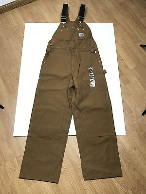 b598af6513 New Carhartt R01 Mens Duck Bib Overall Double Knee Unlined Brown 34 X 30 NWT