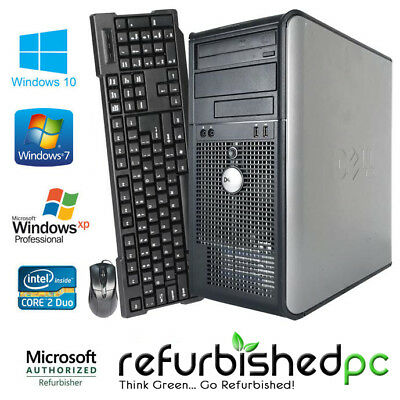 CLEARANCE! Fast Dell Tower Computer PC Core 2 Duo Windows 10 / 7 / XP +KB+MS