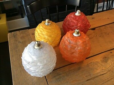4 Mid Century Retro Red Yellow Orange Violet Spaghetti Light Fixture Lamps