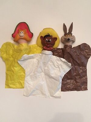 Warner Brothers Looney Tunes Hand Puppet Lot ~ Coyote Yosemite Speedy Gonzales