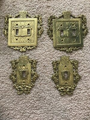 4 Vintage BRASS ORNAMENTAL 2 DOUBLE 2 Single SWITCH PLATE VIRGINIA METALCRAFTERS