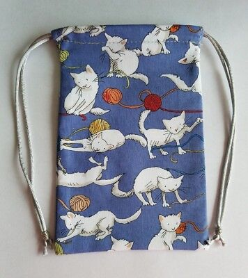 """Lined Kittens Playing With Yarn Bag  (A) 4"""" x 6""""  tarot cards decks runes"""