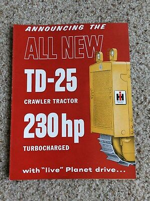 1960s International  TD-25 crawler tractor factory printed sales information
