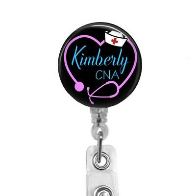 CNA Badge Reel Pink Heart Stethoscope Retractable ID Name Badge Holder LVN RN