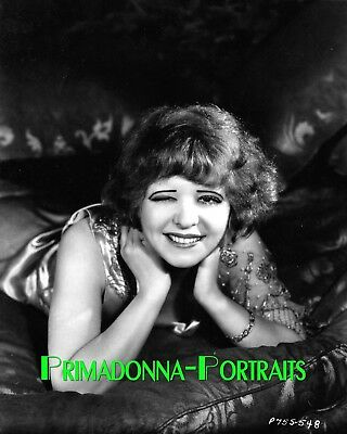 CLARA BOW 8X10 Lab Photo 1920s Sexy Outfit, Adorable Wink Sweetheart  Portrait