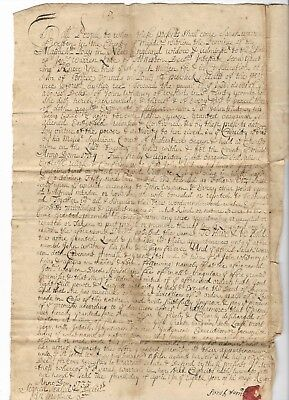 Antique 1735 WESTON MA Colonial Massachusetts AMERICAN LAND DEED Paper Document