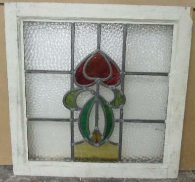 """OLD ENGLISH LEADED STAINED GLASS WINDOW Smooth Floral Abstract 19.25"""" x 19"""""""