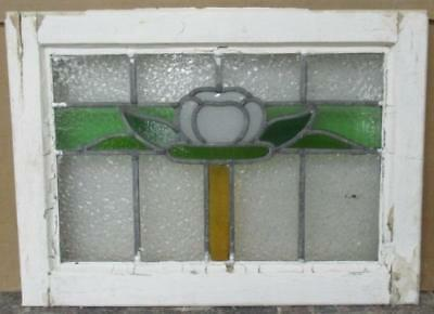 "OLD ENGLISH LEADED STAINED GLASS WINDOW Wonderful Floral 20.25"" x 15"""