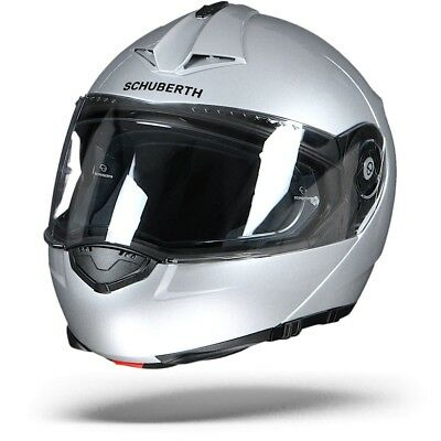 Schuberth C3 Pro Glossy Silver Flip Up Motorcycle Helmet - FREE SHIPPING - NEW