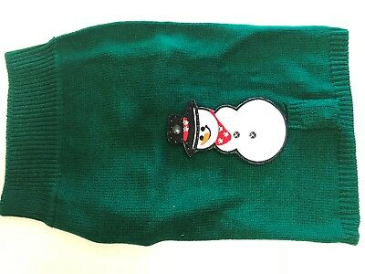 Dog Sweater Green With Lighted Snowman Large New