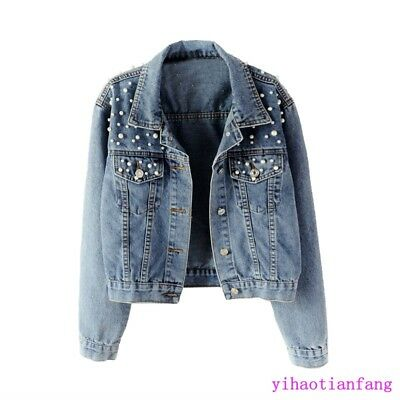 Women Vogue Washed Old Blue Pearls Denim Jacket Chic Casual Jean Short Coat SIZE