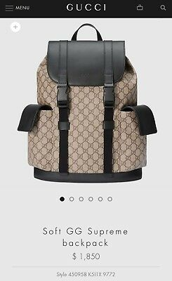 a2526fd7911 100% AUTHENTIC. MEN S Gucci Soft Gg Supreme Backpack -  1