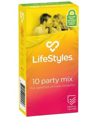 Ansell Lifestyles Party Mix Condom 12 Bulk Buy Glow Dark Studded Ribbed Condoms