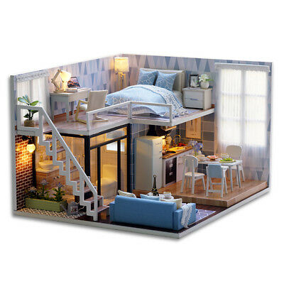DIY Doll House Wooden Houses Miniature dollhouse Furniture Kit Toys for childrW2
