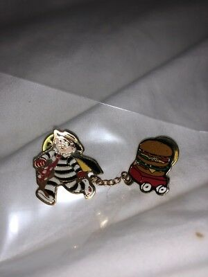 McDonalds Crew Pin  Hamburglar Pulling Hamburger!  RARE PINE!  TWO PIECES