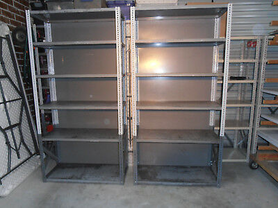 """steel shelving units-set of 2-old style heavy gauge-""""ruff and tuff""""shelving"""
