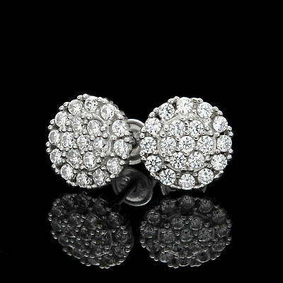 1CT Created Diamond Pave Cluster Earrings 14K White Gold Round Screwback Studs