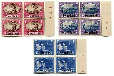1945 SWAZILAND SOUTH AFRICA VICTORY Plate Blocks of 4 MNH