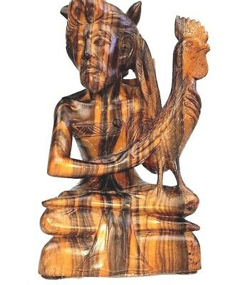 Vintage Balinese Hand Carved Wood Bust of Man Sword Rooster Statue Art 10 1/2""