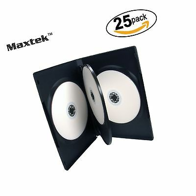 25 Pack Maxtek Standard 14mm Black Quad 4 Disc DVD Cases with Double Sided Fl...