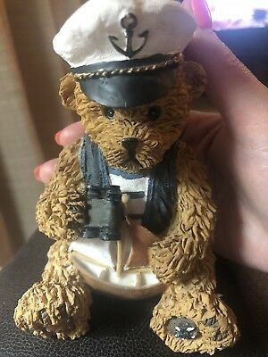 Adorable Teddy  Bear in Sailor Suit holding a boat and binoculars figurine