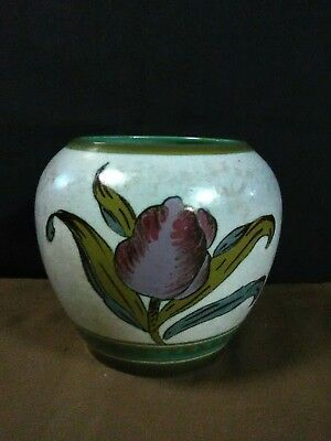 "Lovely Vtg. Royal Gouda Zuid-Holland Pottery Hand Painted Decor""Irene""Tulip Vase"
