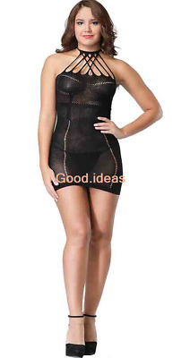 Sexy Lingerie Womens Floral Halter Neck Hollow Out Dress Bodysuit Body Stocking